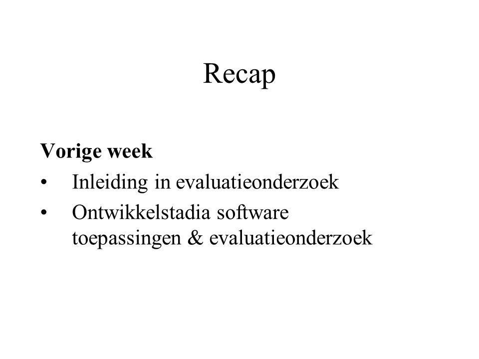 Recap Vorige week Inleiding in evaluatieonderzoek Ontwikkelstadia software toepassingen & evaluatieonderzoek