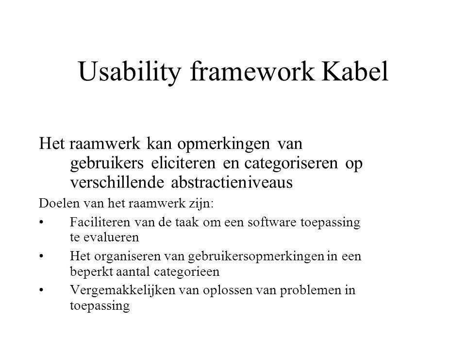 Usability framework Kabel Het raamwerk kan opmerkingen van gebruikers eliciteren en categoriseren op verschillende abstractieniveaus Doelen van het ra