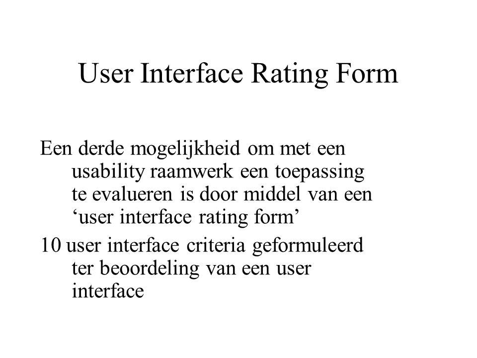 User Interface Rating Form Een derde mogelijkheid om met een usability raamwerk een toepassing te evalueren is door middel van een 'user interface rat