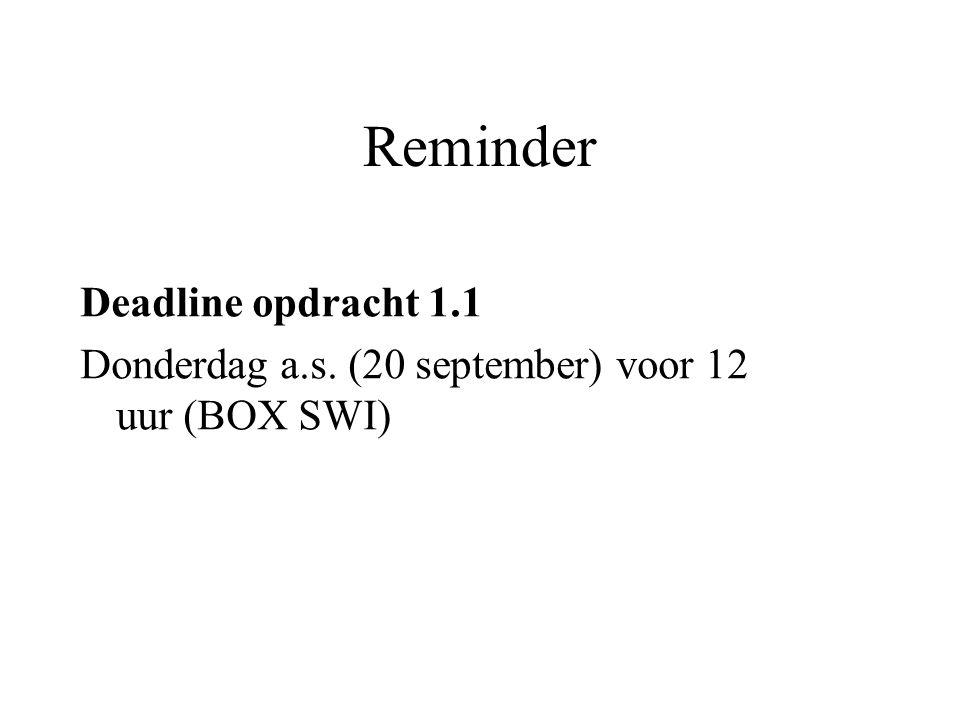 Reminder Deadline opdracht 1.1 Donderdag a.s. (20 september) voor 12 uur (BOX SWI)