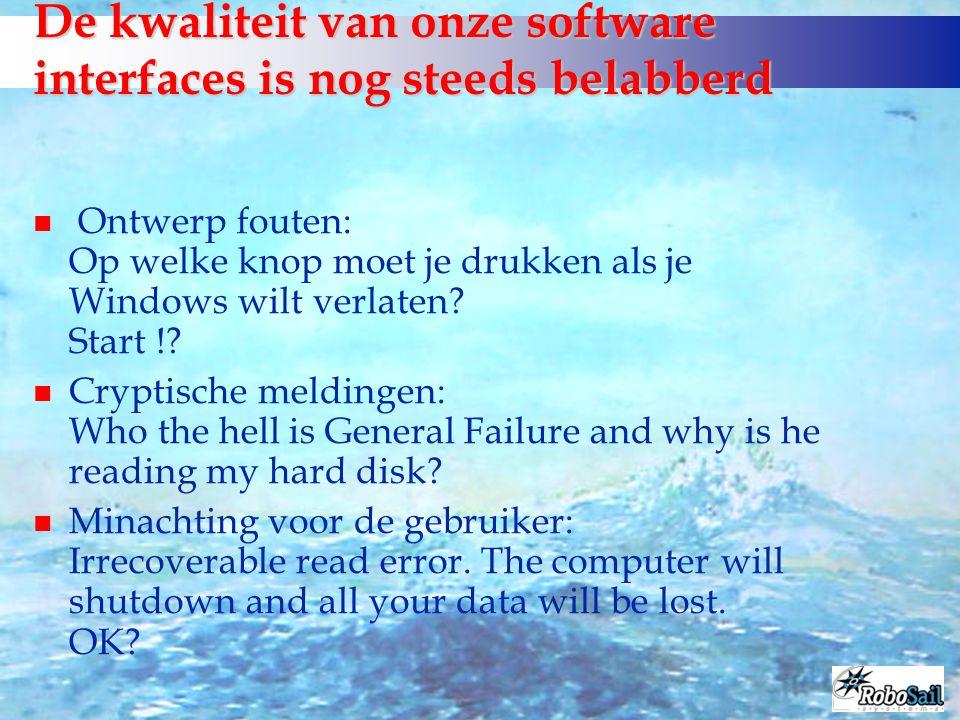 De kwaliteit van onze software interfaces is nog steeds belabberd n Ontwerp fouten: Op welke knop moet je drukken als je Windows wilt verlaten? Start