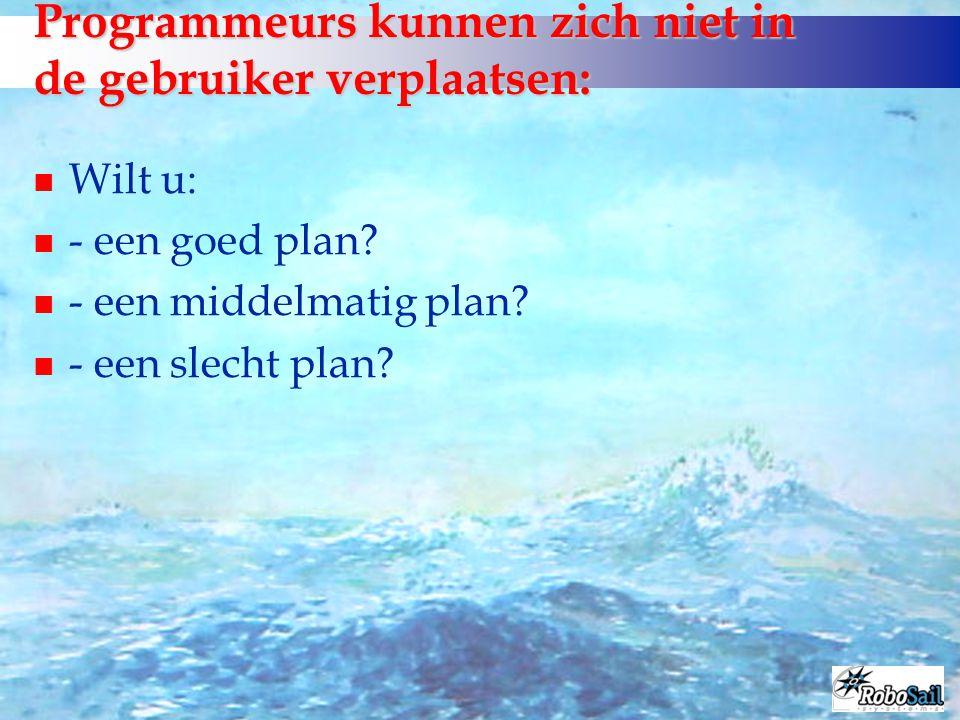 Programmeurs kunnen zich niet in de gebruiker verplaatsen: n Wilt u: n - een goed plan? n - een middelmatig plan? n - een slecht plan?