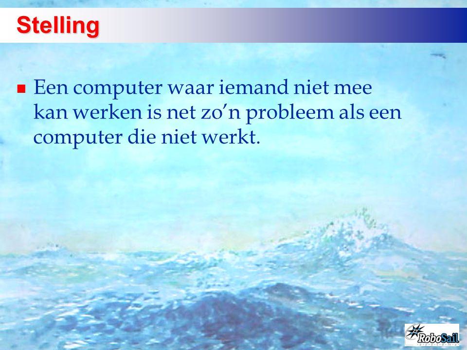 Stelling n Een computer waar iemand niet mee kan werken is net zo'n probleem als een computer die niet werkt.