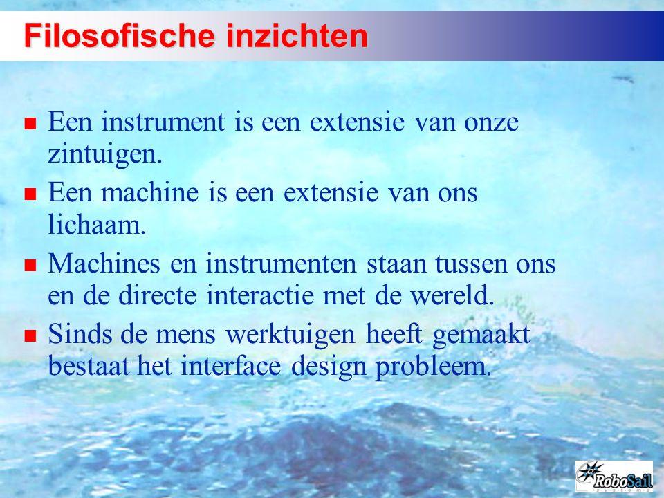 Filosofische inzichten n Een instrument is een extensie van onze zintuigen. n Een machine is een extensie van ons lichaam. n Machines en instrumenten