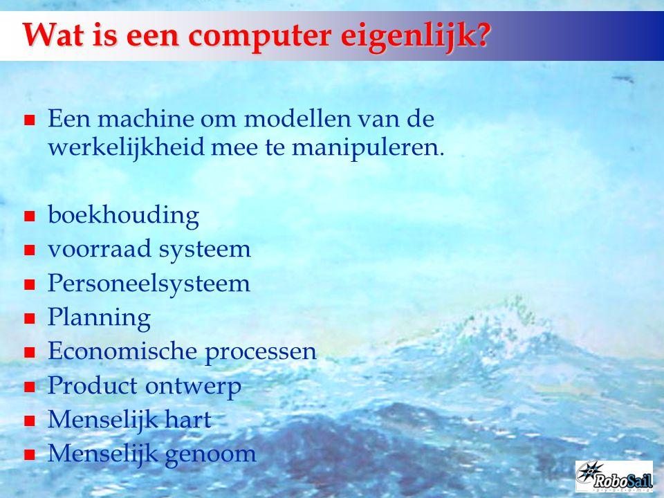 Wat is een computer eigenlijk? Een machine om modellen van de werkelijkheid mee te manipuleren. n boekhouding n voorraad systeem n Personeelsysteem n