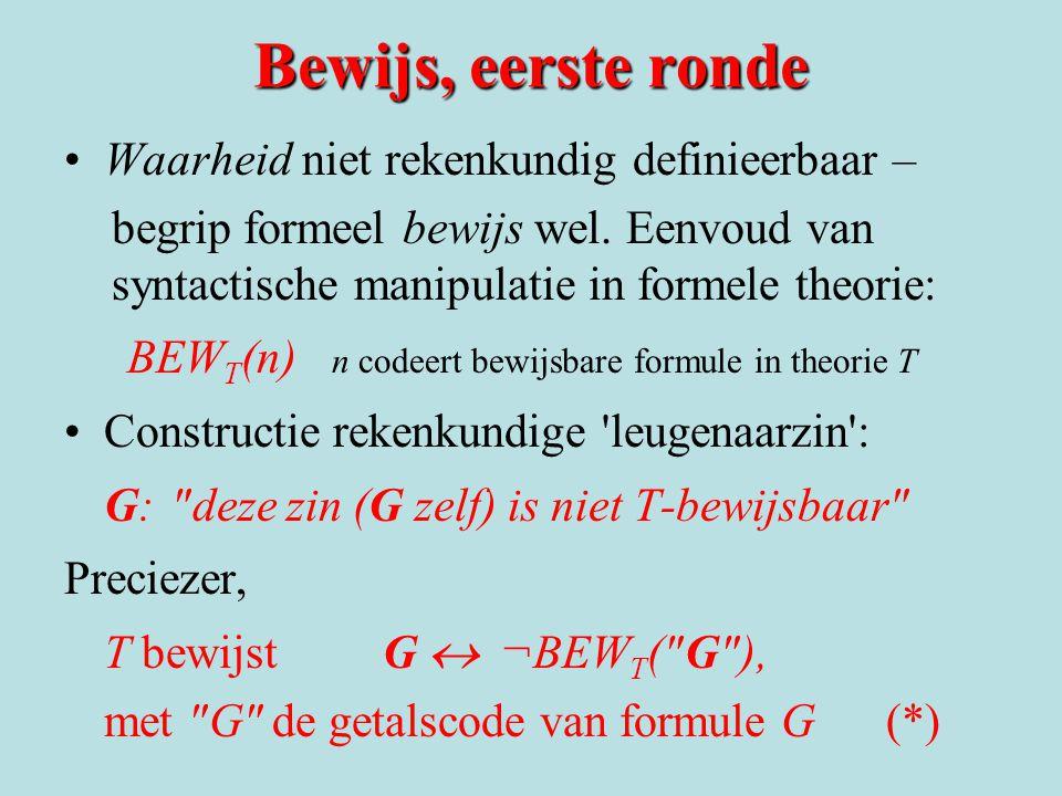 Bewijs, eerste ronde Waarheid niet rekenkundig definieerbaar – begrip formeel bewijs wel. Eenvoud van syntactische manipulatie in formele theorie: BEW