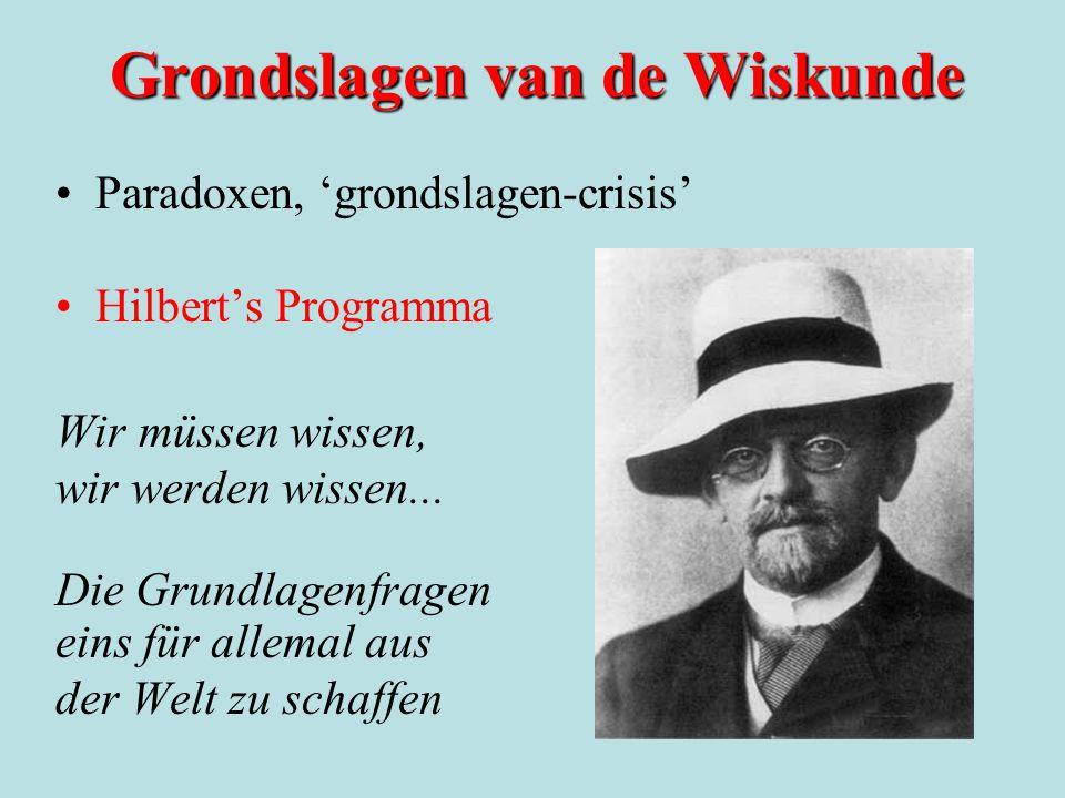 Grondslagen van de Wiskunde Paradoxen, 'grondslagen-crisis' Hilbert's Programma Wir müssen wissen, wir werden wissen... Die Grundlagenfragen eins für