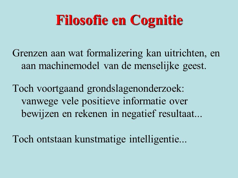 Filosofie en Cognitie Grenzen aan wat formalizering kan uitrichten, en aan machinemodel van de menselijke geest. Toch voortgaand grondslagenonderzoek: