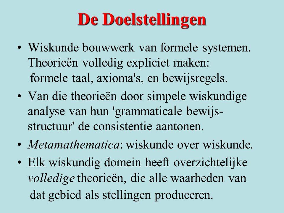 De Doelstellingen Wiskunde bouwwerk van formele systemen. Theorieën volledig expliciet maken: formele taal, axioma's, en bewijsregels. Van die theorie