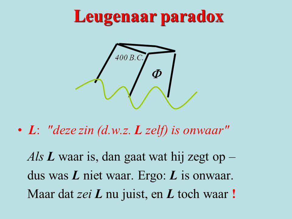 Leugenaar paradox 400 B.C. L: deze zin (d.w.z.