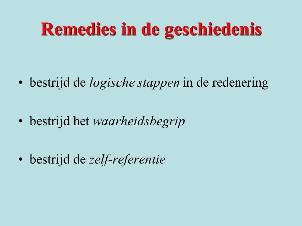 Remedies in de geschiedenis bestrijd de logische stappen in de redenering bestrijd het waarheidsbegrip bestrijd de zelf-referentie