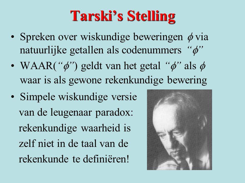 Tarski's Stelling Spreken over wiskundige beweringen  via natuurlijke getallen als codenummers  WAAR(  ) geldt van het getal  als  waar is als gewone rekenkundige bewering Simpele wiskundige versie van de leugenaar paradox: rekenkundige waarheid is zelf niet in de taal van de rekenkunde te definiëren!