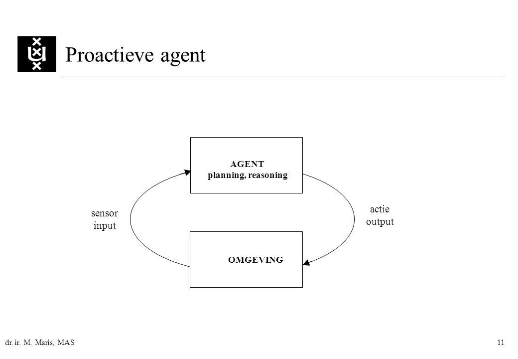 dr. ir. M. Maris, MAS11 Proactieve agent AGENT planning, reasoning actie output sensor input OMGEVING