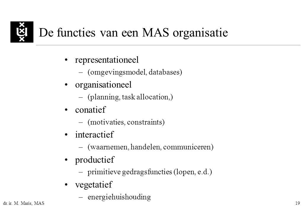 dr. ir. M. Maris, MAS19 De functies van een MAS organisatie representationeel –(omgevingsmodel, databases) organisationeel –(planning, task allocation