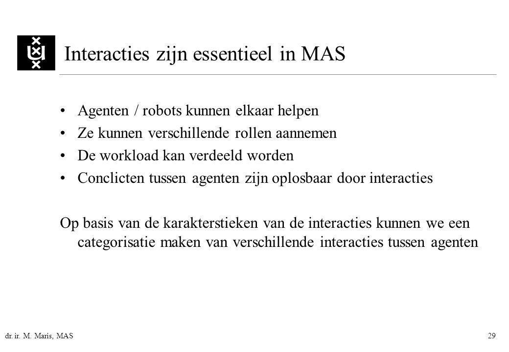 dr. ir. M. Maris, MAS29 Interacties zijn essentieel in MAS Agenten / robots kunnen elkaar helpen Ze kunnen verschillende rollen aannemen De workload k