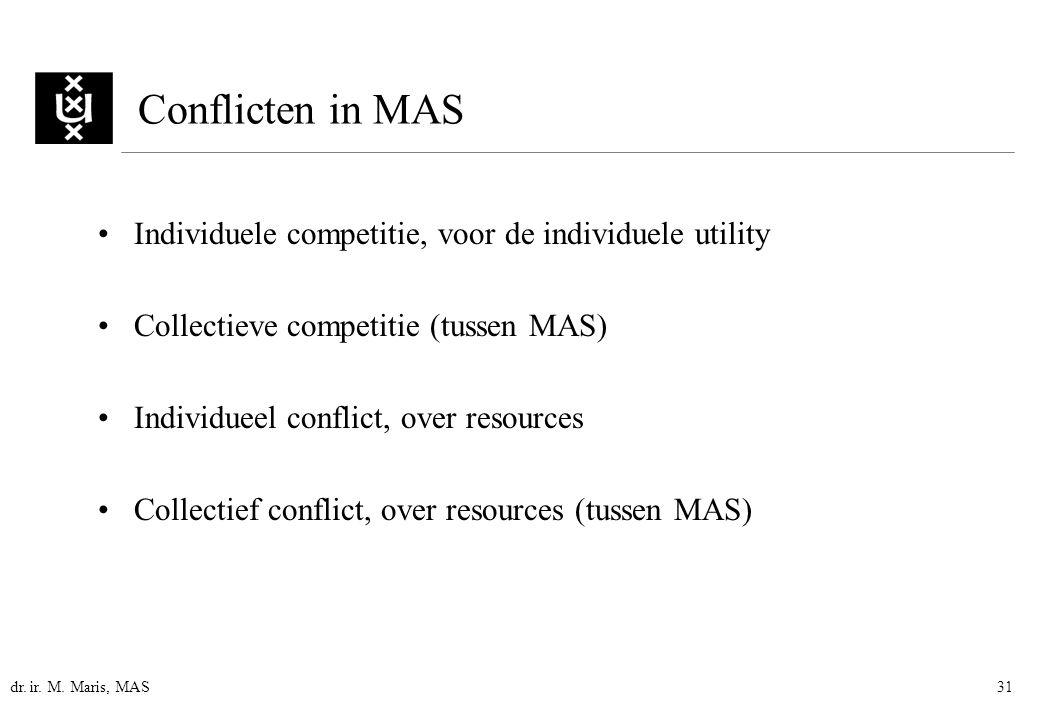 dr. ir. M. Maris, MAS31 Individuele competitie, voor de individuele utility Collectieve competitie (tussen MAS) Individueel conflict, over resources C