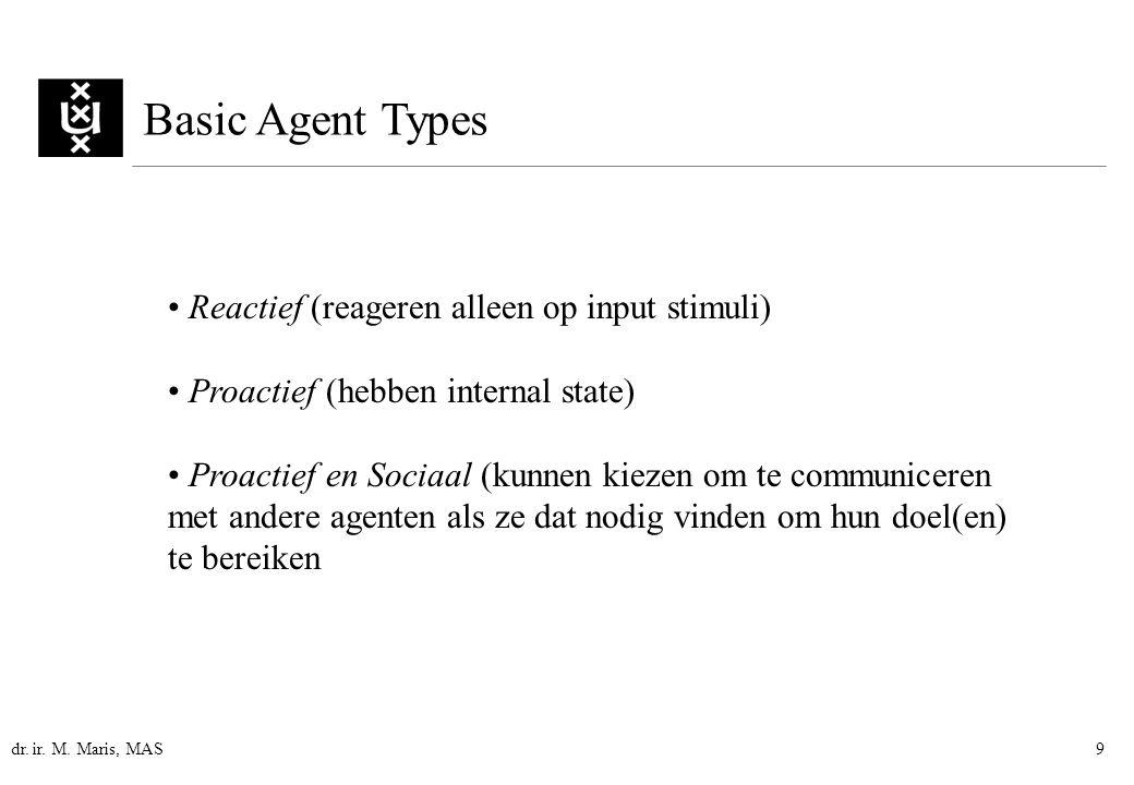 dr. ir. M. Maris, MAS9 Basic Agent Types Reactief (reageren alleen op input stimuli) Proactief (hebben internal state) Proactief en Sociaal (kunnen ki