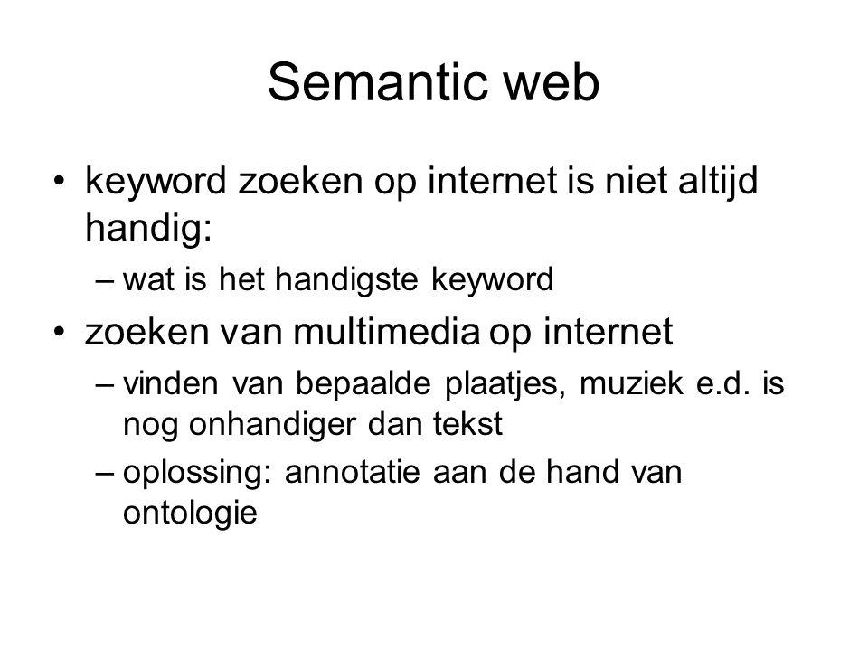 Semantic web keyword zoeken op internet is niet altijd handig: –wat is het handigste keyword zoeken van multimedia op internet –vinden van bepaalde plaatjes, muziek e.d.