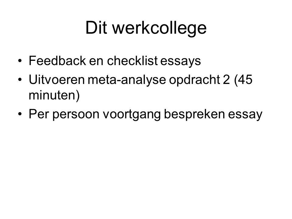 Checklist essay I Checklist bij het schrijven en bekritiseren van essays (http://www2.fmg.uva.nl/kwakiutl/essay- tips.html): Geeft het essay antwoord op de gestelde vraag.