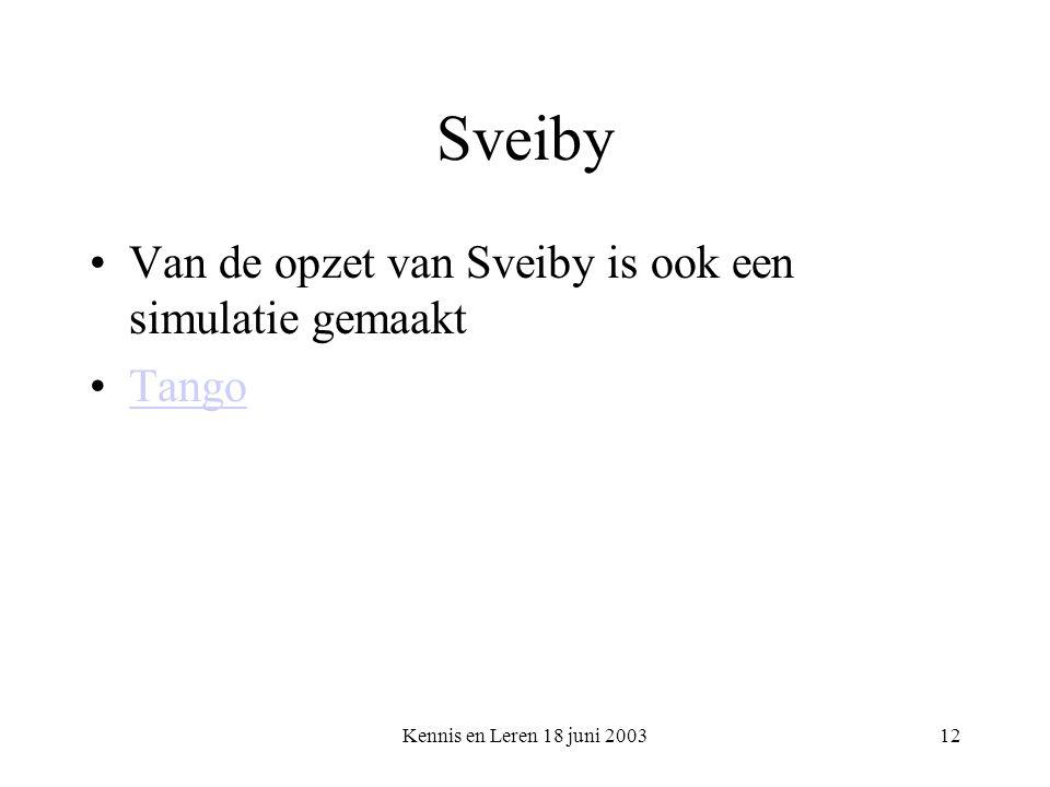 Kennis en Leren 18 juni 200312 Sveiby Van de opzet van Sveiby is ook een simulatie gemaakt Tango