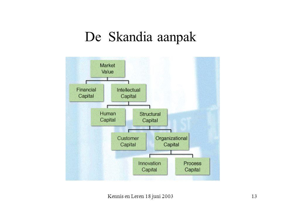 Kennis en Leren 18 juni 200313 De Skandia aanpak