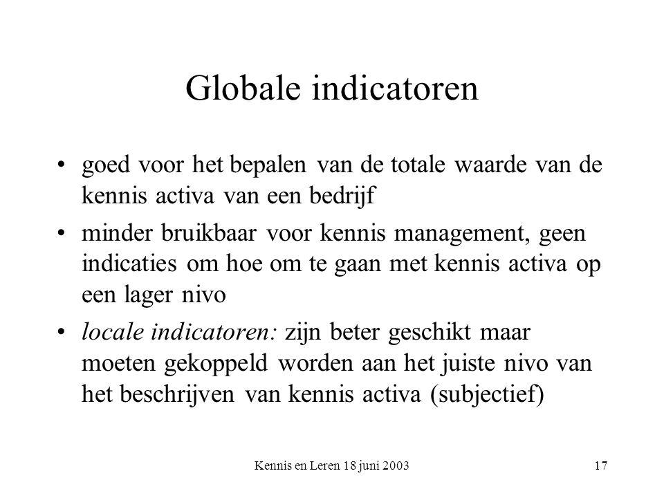Kennis en Leren 18 juni 200317 Globale indicatoren goed voor het bepalen van de totale waarde van de kennis activa van een bedrijf minder bruikbaar vo