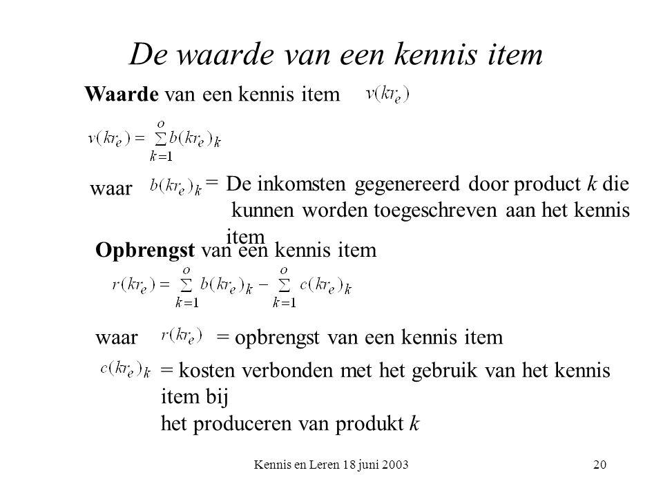 Kennis en Leren 18 juni 200320 De waarde van een kennis item Waarde van een kennis item waar De inkomsten gegenereerd door product k die kunnen worden