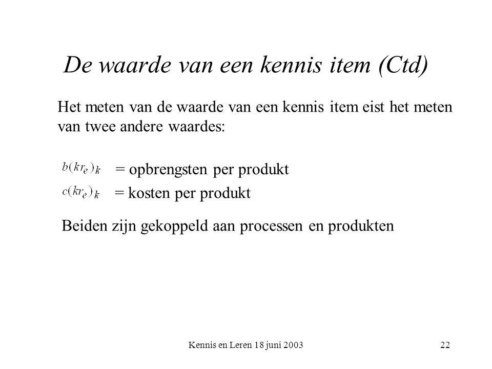 Kennis en Leren 18 juni 200322 De waarde van een kennis item (Ctd) Het meten van de waarde van een kennis item eist het meten van twee andere waardes: = opbrengsten per produkt = kosten per produkt Beiden zijn gekoppeld aan processen en produkten