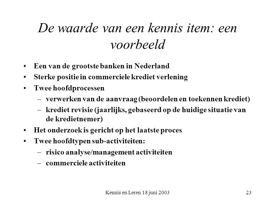 Kennis en Leren 18 juni 200323 De waarde van een kennis item: een voorbeeld Een van de grootste banken in Nederland Sterke positie in commerciele krediet verlening Twee hoofdprocessen –verwerken van de aanvraag (beoordelen en toekennen krediet) –krediet revisie (jaarlijks, gebaseerd op de huidige situatie van de kredietnemer) Het onderzoek is gericht op het laatste proces Twee hoofdtypen sub-activiteiten: –risico analyse/management activiteiten –commerciele activiteiten