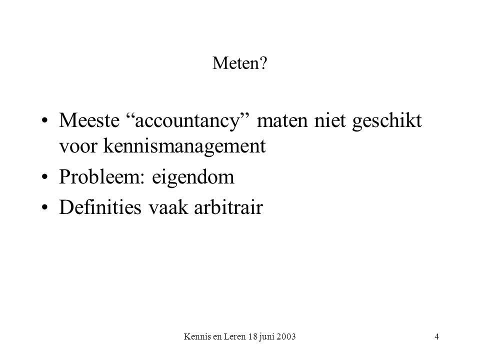 """Kennis en Leren 18 juni 20034 Meten? Meeste """"accountancy"""" maten niet geschikt voor kennismanagement Probleem: eigendom Definities vaak arbitrair"""