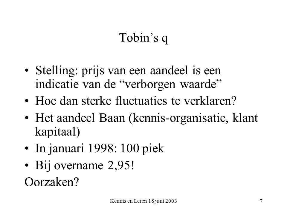 Kennis en Leren 18 juni 20037 Tobin's q Stelling: prijs van een aandeel is een indicatie van de verborgen waarde Hoe dan sterke fluctuaties te verklaren.