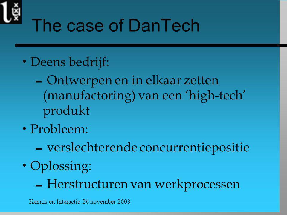 Kennis en Interactie 26 november 2003 The case of DanTech  Deens bedrijf:  Ontwerpen en in elkaar zetten (manufactoring) van een 'high-tech' produkt  Probleem:  verslechterende concurrentiepositie  Oplossing:  Herstructuren van werkprocessen