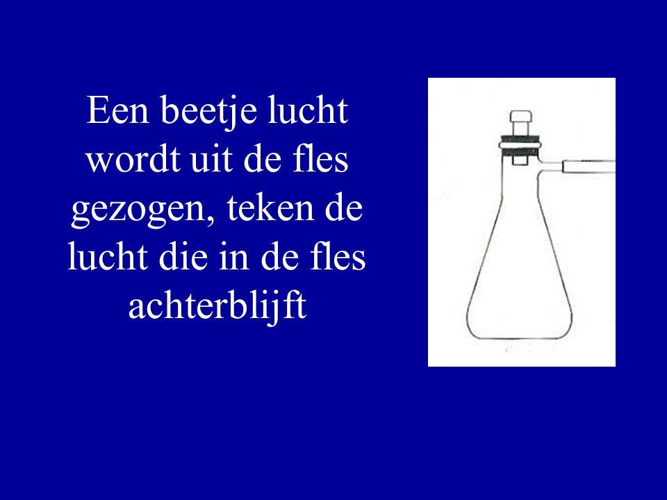 Een beetje lucht wordt uit de fles gezogen, teken de lucht die in de fles achterblijft