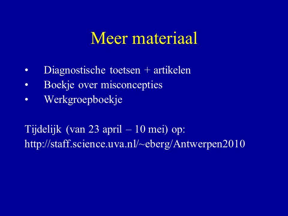 Meer materiaal Diagnostische toetsen + artikelen Boekje over misconcepties Werkgroepboekje Tijdelijk (van 23 april – 10 mei) op: http://staff.science.