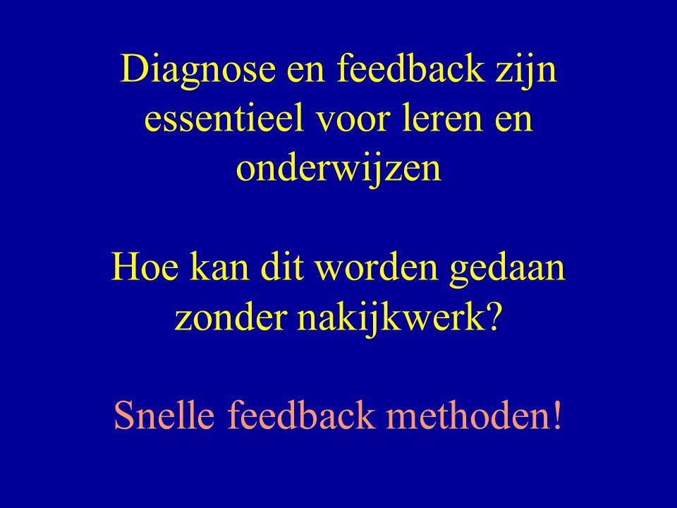 Diagnose en feedback zijn essentieel voor leren en onderwijzen Hoe kan dit worden gedaan zonder nakijkwerk? Snelle feedback methoden!
