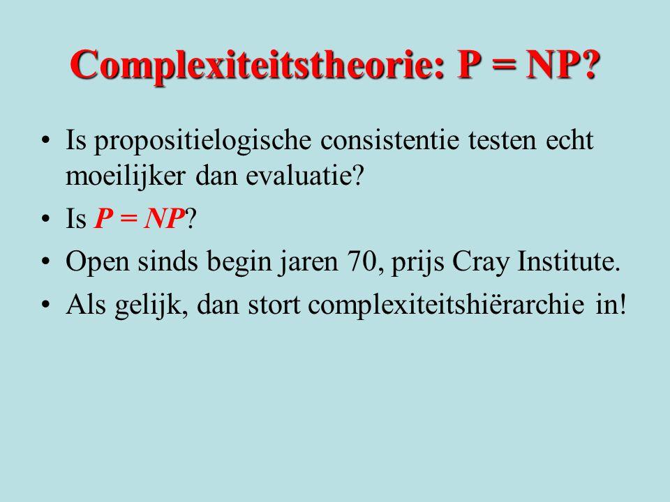 Complexiteitstheorie: P = NP? Is propositielogische consistentie testen echt moeilijker dan evaluatie? Is P = NP? Open sinds begin jaren 70, prijs Cra
