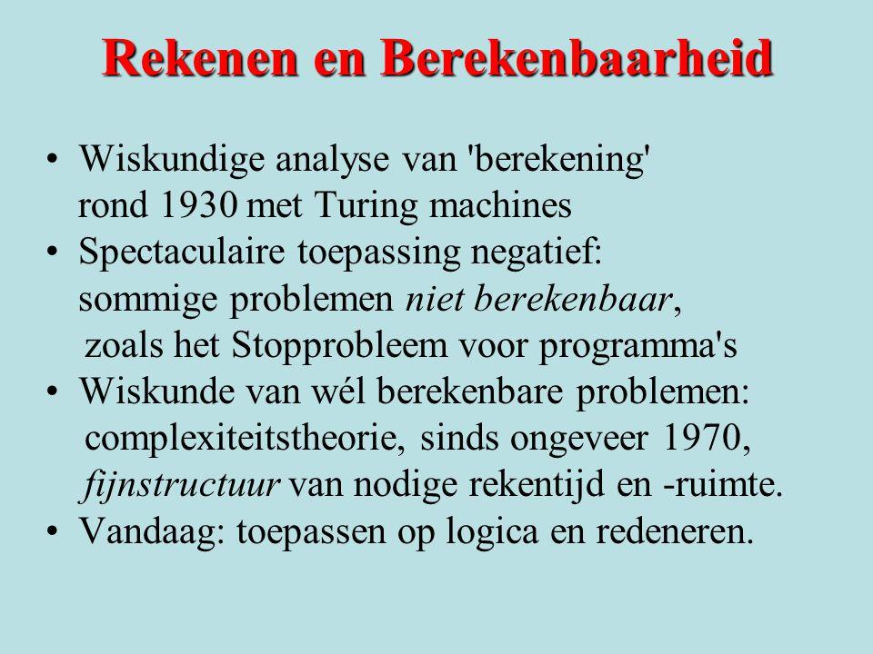 Rekenen en Berekenbaarheid Wiskundige analyse van 'berekening' rond 1930 met Turing machines Spectaculaire toepassing negatief: sommige problemen niet