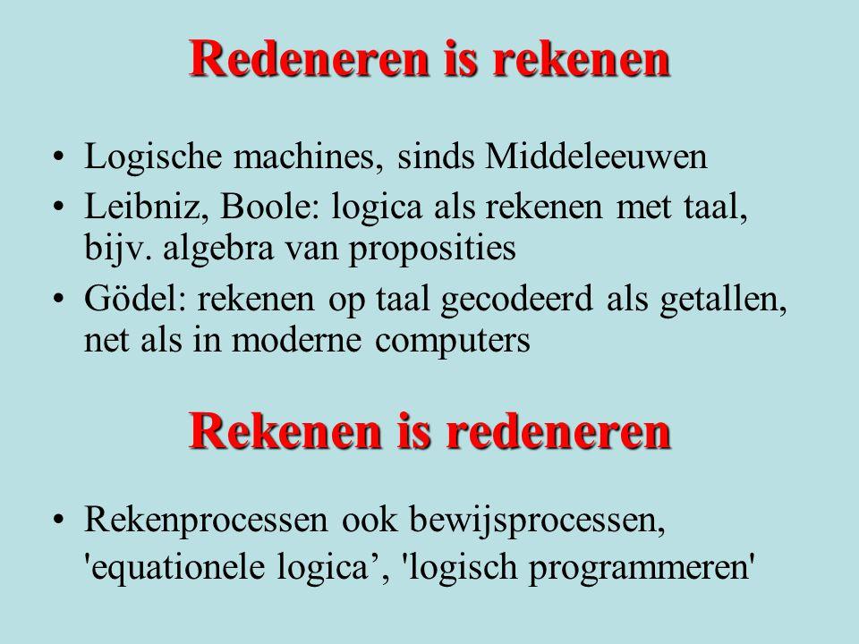 Redeneren is rekenen Logische machines, sinds Middeleeuwen Leibniz, Boole: logica als rekenen met taal, bijv. algebra van proposities Gödel: rekenen o