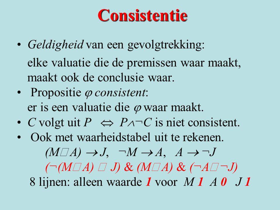 Consistentie Geldigheid van een gevolgtrekking: elke valuatie die de premissen waar maakt, maakt ook de conclusie waar. Propositie  consistent: er i