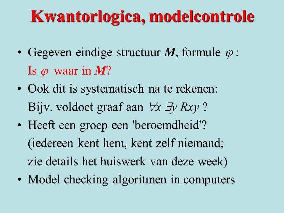 Kwantorlogica, modelcontrole Gegeven eindige structuur M, formule  Is  waar in M? Ook dit is systematisch na te rekenen: Bijv. voldoet graaf aan