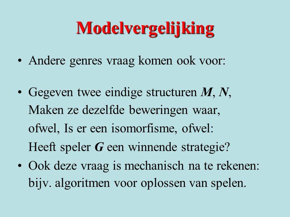 Modelvergelijking Andere genres vraag komen ook voor: Gegeven twee eindige structuren M, N, Maken ze dezelfde beweringen waar, ofwel, Is er een isomor