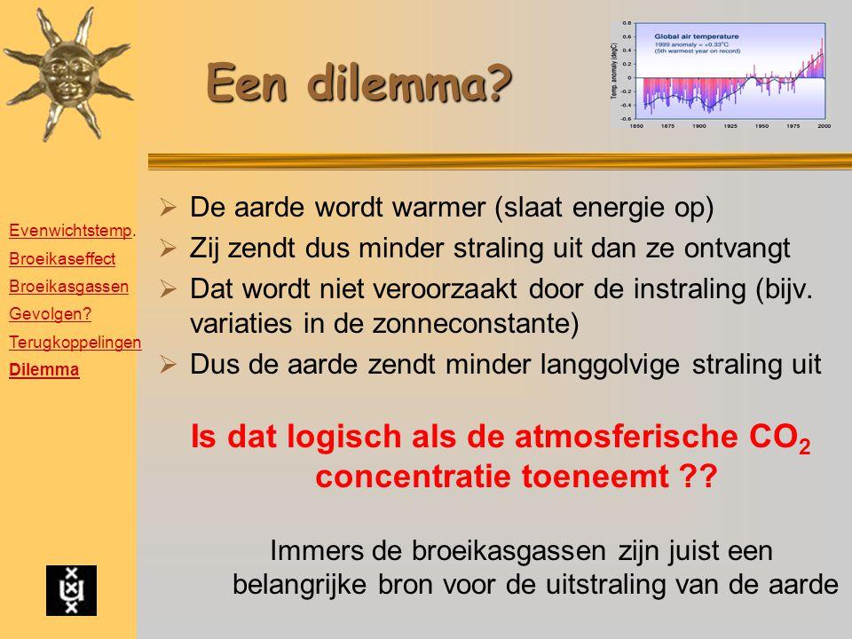 Een dilemma?  De aarde wordt warmer (slaat energie op)  Zij zendt dus minder straling uit dan ze ontvangt  Dat wordt niet veroorzaakt door de instr