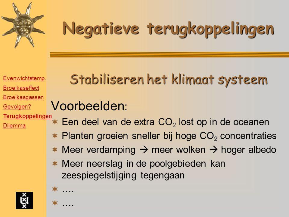 Negatieve terugkoppelingen Voorbeelden :  Een deel van de extra CO 2 lost op in de oceanen  Planten groeien sneller bij hoge CO 2 concentraties  Me