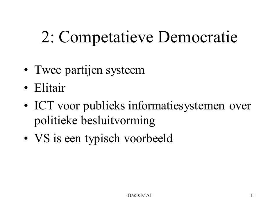 Basis MAI11 2: Competatieve Democratie Twee partijen systeem Elitair ICT voor publieks informatiesystemen over politieke besluitvorming VS is een typisch voorbeeld