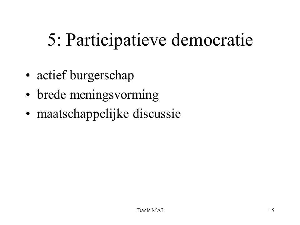 Basis MAI15 5: Participatieve democratie actief burgerschap brede meningsvorming maatschappelijke discussie