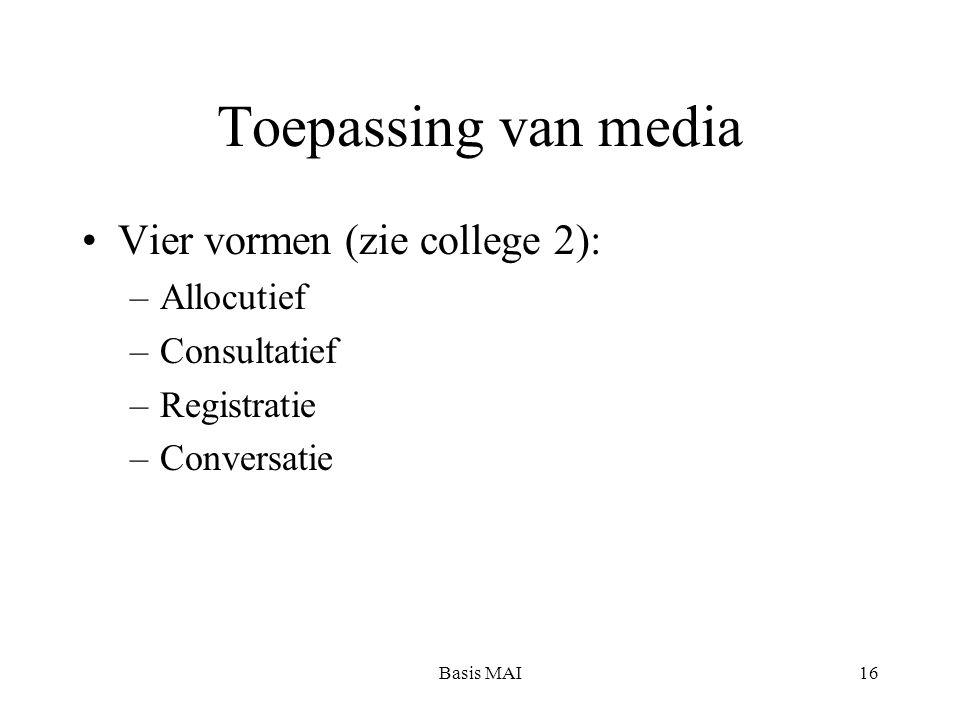 Basis MAI16 Toepassing van media Vier vormen (zie college 2): –Allocutief –Consultatief –Registratie –Conversatie