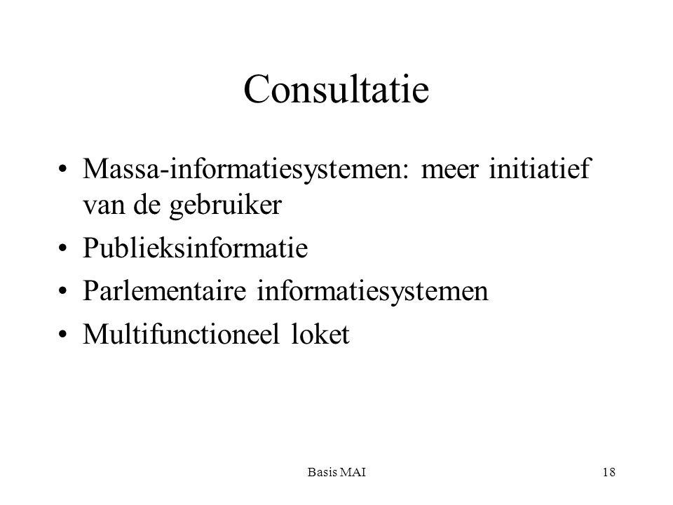 Basis MAI18 Consultatie Massa-informatiesystemen: meer initiatief van de gebruiker Publieksinformatie Parlementaire informatiesystemen Multifunctioneel loket