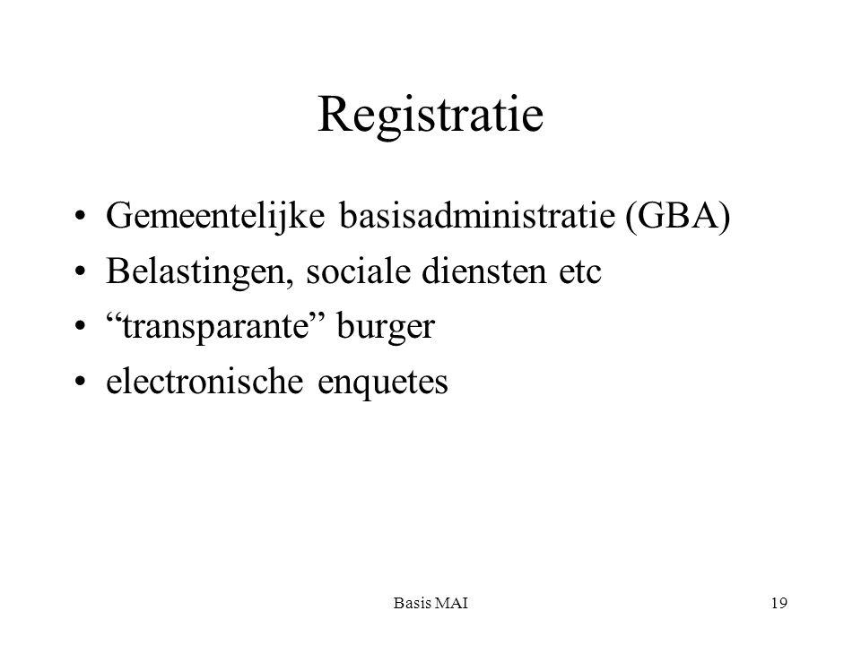 Basis MAI19 Registratie Gemeentelijke basisadministratie (GBA) Belastingen, sociale diensten etc transparante burger electronische enquetes