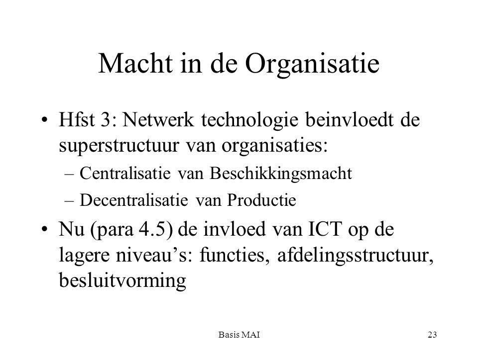 Basis MAI23 Macht in de Organisatie Hfst 3: Netwerk technologie beinvloedt de superstructuur van organisaties: –Centralisatie van Beschikkingsmacht –Decentralisatie van Productie Nu (para 4.5) de invloed van ICT op de lagere niveau's: functies, afdelingsstructuur, besluitvorming
