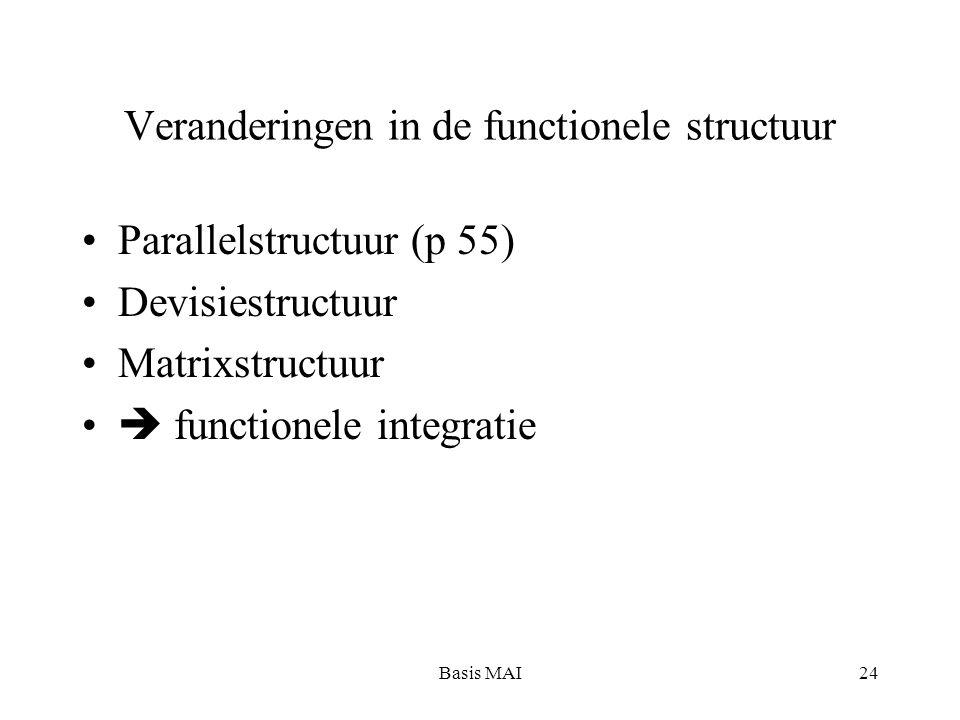 Basis MAI24 Veranderingen in de functionele structuur Parallelstructuur (p 55) Devisiestructuur Matrixstructuur  functionele integratie